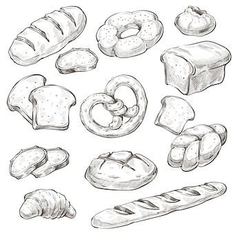 Producto horneado, barra de pan y bollos monocromo