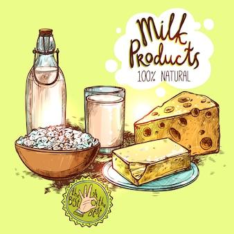Producto lácteo naturaleza muerta concepto