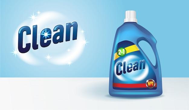 Producto de limpieza realista. anuncio de suministro de lavado, ilustración