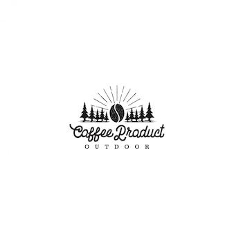 Producto de logo de café al aire libre, actividad de aventura de campamento