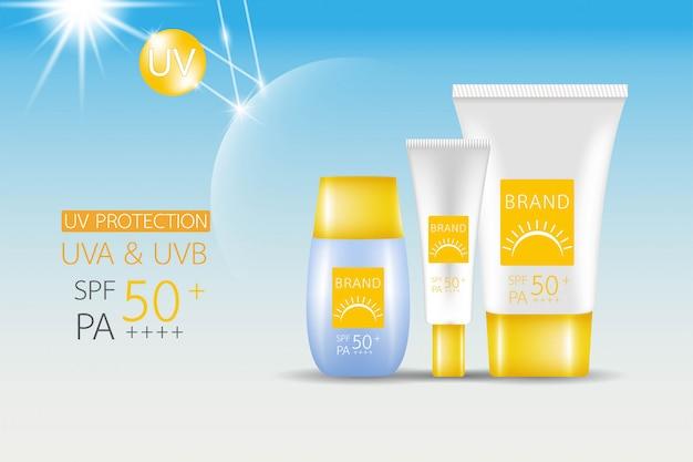 Producto maqueta de diseño. crema de protección solar spf 50.