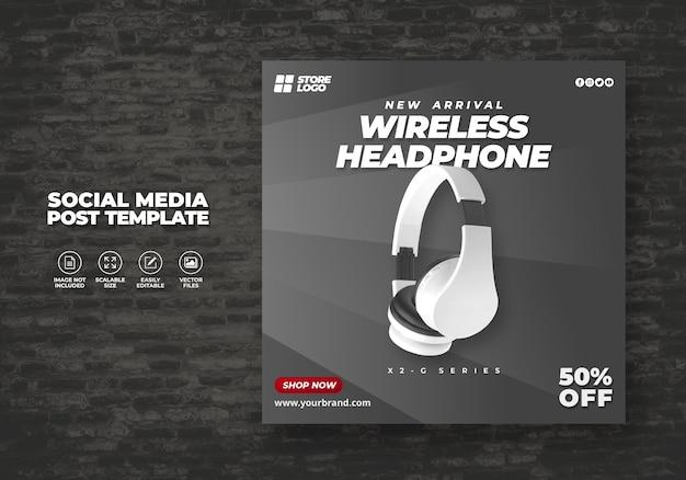 Producto de marca de auriculares inalámbricos de color blanco moderno y elegante para banner de plantilla de redes sociales