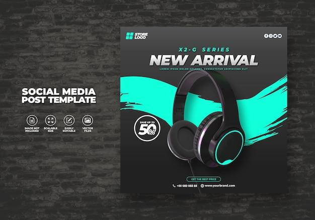 Producto de marca de auriculares inalámbricos de color negro moderno y elegante para banner de plantilla de redes sociales