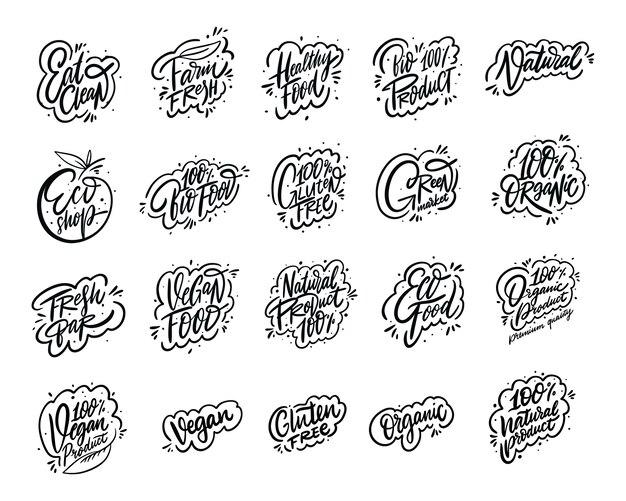 Producto natural conjunto de colección de frases de caligrafía moderna. letras dibujadas a mano. de tinta negro.