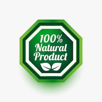Producto natural etiqueta verde o pegatina