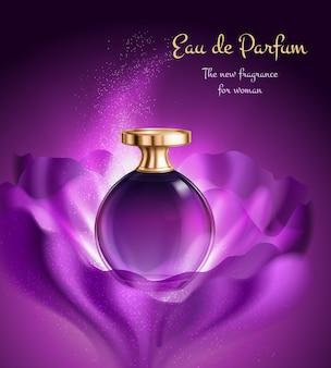 Producto de perfume en frasco de vidrio con dispensador