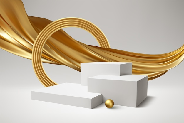 Producto de podio blanco 3d y remolino dorado realista