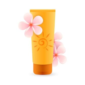 Producto protector solar con flores rosas.