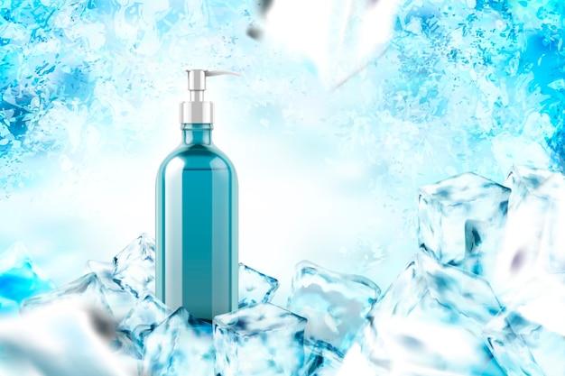Producto refrigerante con hojas de menta sobre fondo congelado