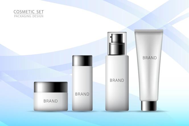 Producto simulado cosmético en el fondo azul.