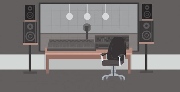 Productor de grabación ingeniero de audio lugar de trabajo nadie estudio de grabación horizontal interior