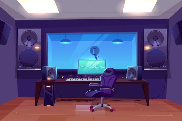 Productor de grabación o ingeniero de audio en el lugar de trabajo