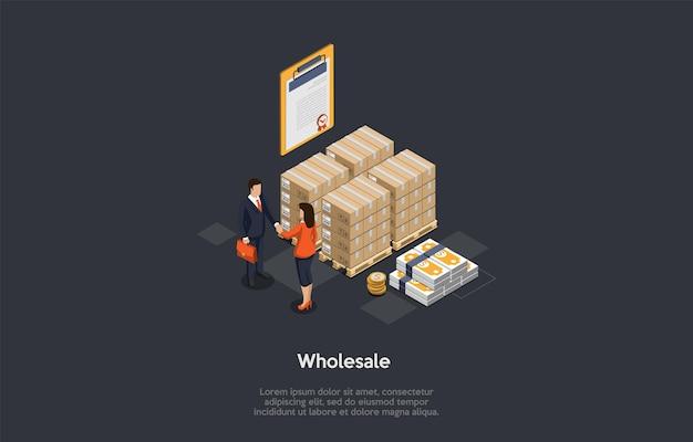 Productos al por mayor, artículos, bienes y concepto de mercancía. socios comerciales haciendo trato. bienes embalados en cajas, pila de dinero y certificado de calidad.