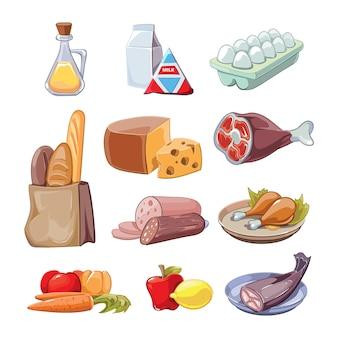 Productos alimenticios cotidianos comunes. conjunto de imágenes prediseñadas de dibujos animados, queso y pescado, salchichas y leche