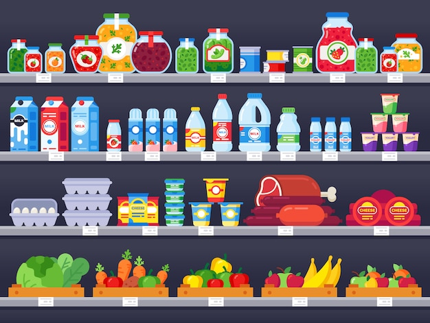 Productos alimenticios en el estante de la tienda. ilustración de venta de estantes de supermercado, escaparate de tienda de alimentos y productos de comida empaquetada de elección