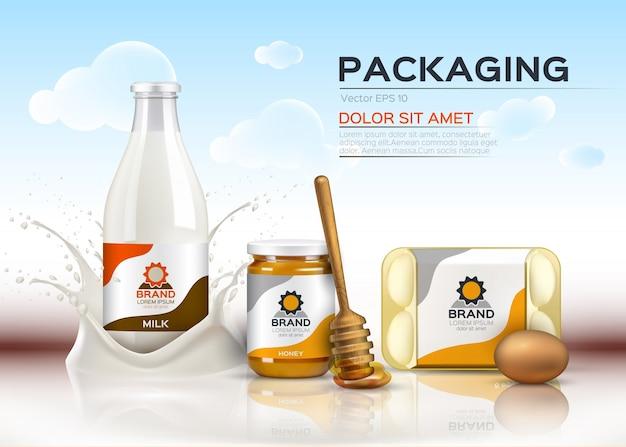 Productos alimenticios realistas botellas de leche y miel, envases de huevos