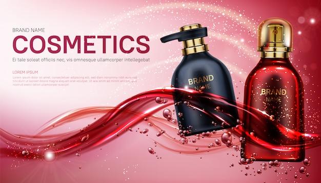 Productos de belleza cosméticos botellas banner.