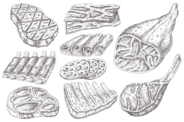Productos cárnicos dibujar a mano.