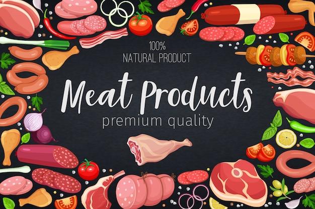 Productos cárnicos gastronómicos con verduras y especias plantilla de póster para producción de carne alimentaria, folletos, pancartas, menús y diseño de mercados. ilustración.