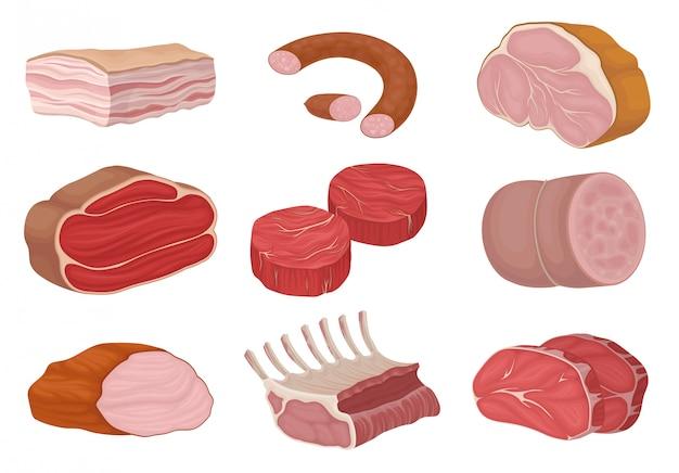 Productos cárnicos y trozos de carne cruda. ilustración.