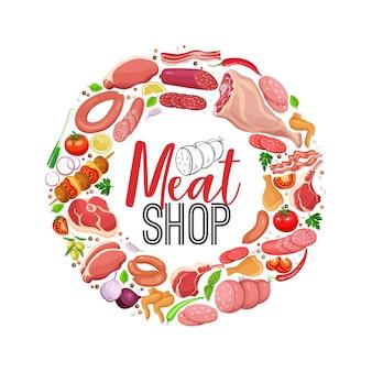 Productos cárnicos con verduras y especias banner redondo.