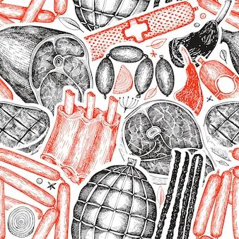 Productos cárnicos vintage de patrones sin fisuras.