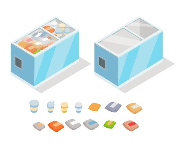 Productos congelados en la tienda nevera vector isométrico