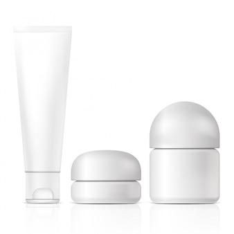 Productos cosméticos en blanco. ilustración aislada concepto gráfico para su diseño.