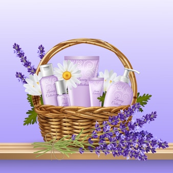Productos cosméticos en cesta de mimbre.