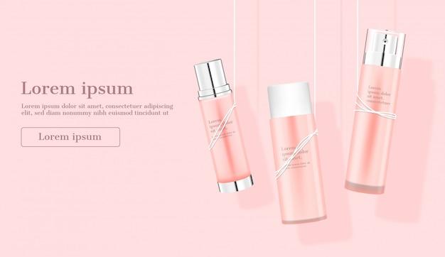 Productos cosméticos colgando de cuerdas en rosa
