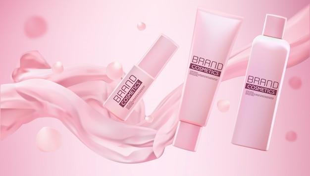Productos cosméticos de color rosa con tela lisa con efecto brillante sobre rosa