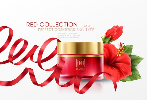Productos cosméticos con composición de colección de lujo de flor de hibisco en el fondo.