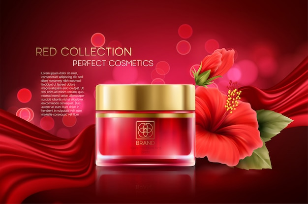 Productos cosméticos con composición de colección de lujo sobre fondo rojo bokeh borrosa con flor de hibisco.
