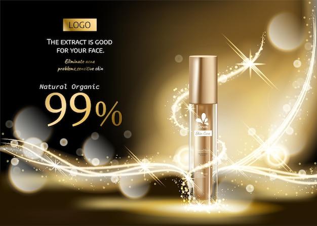 Productos cosméticos con composición de lujo dorado sobre fondo de efecto de luz dorado borroso negro