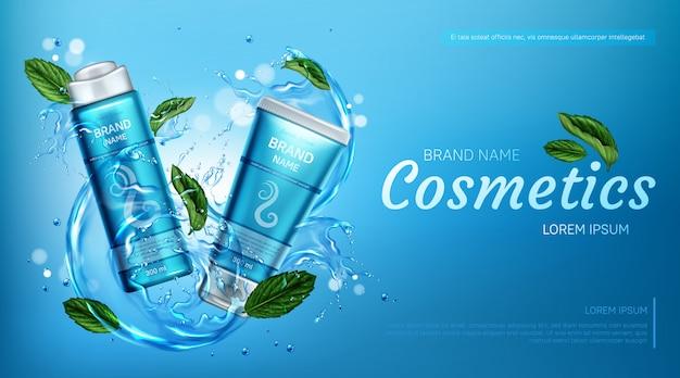 Productos cosméticos para el cuidado del cabello en salpicaduras de agua.