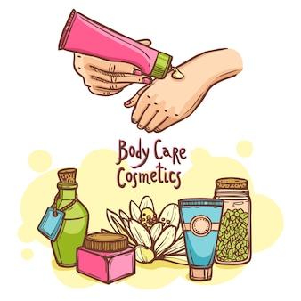 Productos cosméticos para el cuidado del cuerpo y póster