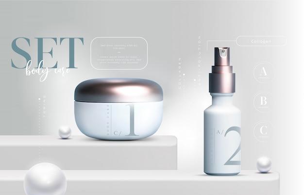Los productos cosméticos elegantes en 3d establecen envases de tarros de crema para el cuidado de la piel. crema facial de lujo. folleto de anuncios cosméticos o diseño de banner. plantilla de crema cosmética. marca de productos de maquillaje.