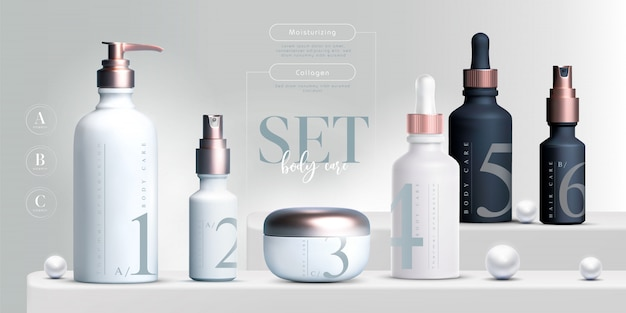 Productos cosméticos elegantes establecer fondo