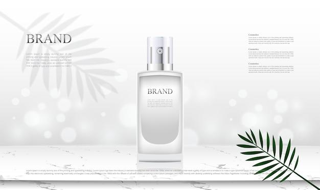 Productos cosméticos de fondo con mesa superior