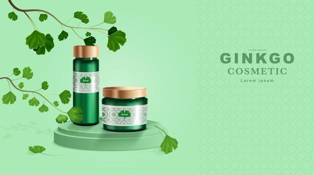 Productos cosméticos o para el cuidado de la piel. maqueta de botella y hojas de ginkgo