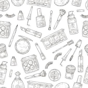 Productos cosméticos. pestañas, pintalabios y perfume, polvos y brocha de maquillaje. esmalte de uñas, base y pinzas doodle de patrones sin fisuras