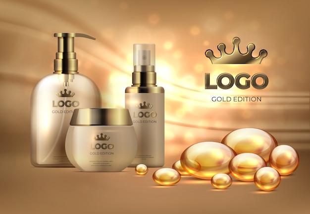 Productos cosméticos de plantilla de belleza