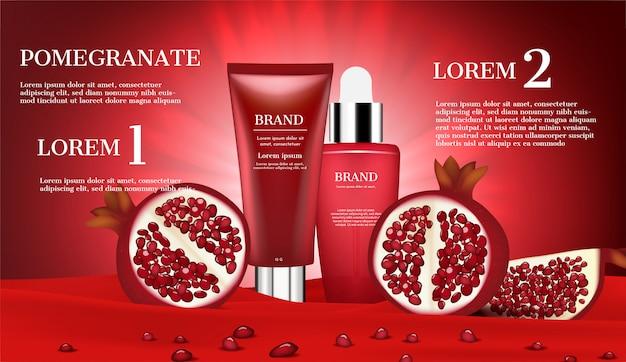Productos cosméticos con rodaja de granada y semillas pequeñas sobre franela roja.
