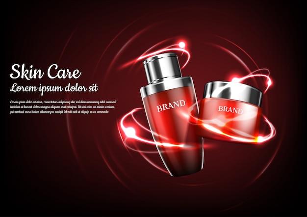 Productos cosméticos rojos con luces de órbita abstractas