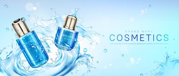 Productos cosméticos en salpicaduras de agua.