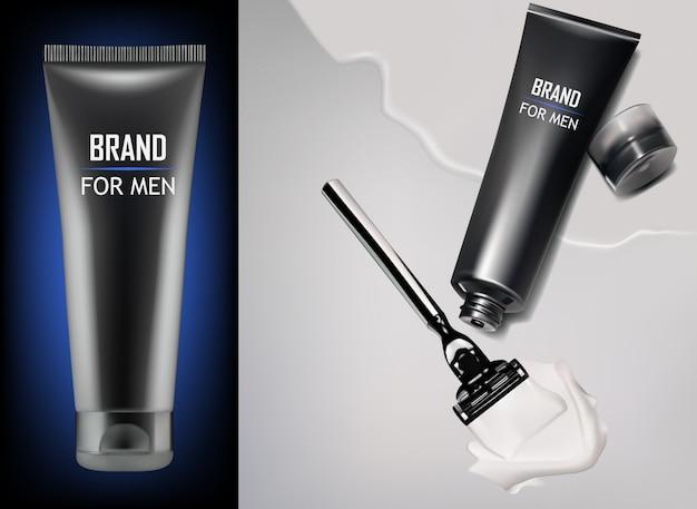Productos de crema de afeitar para hombres.