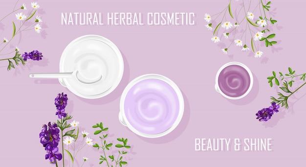 Productos de crema cosmética a base de hierbas naturales