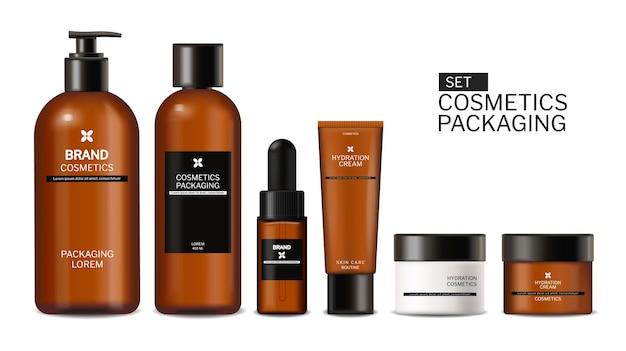 Productos para el cuidado del cabello simulacros de botellas de mascarilla y acondicionador vector etiqueta de colocación de producto realista