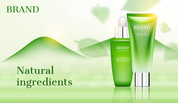 Productos para el cuidado de la piel con hojas transparentes en el anuncio de montaña verde