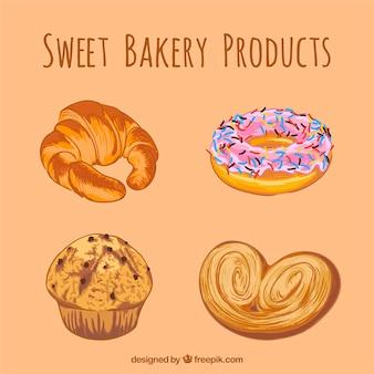 Productos dulces de panadería dibujados a mano
